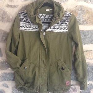 Roxy jacket coat tribal pattern utility army green